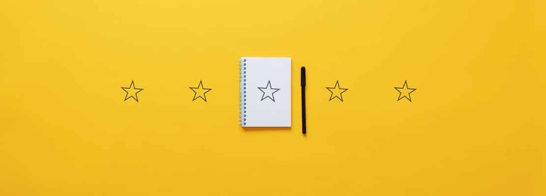 Five stars over yellow background